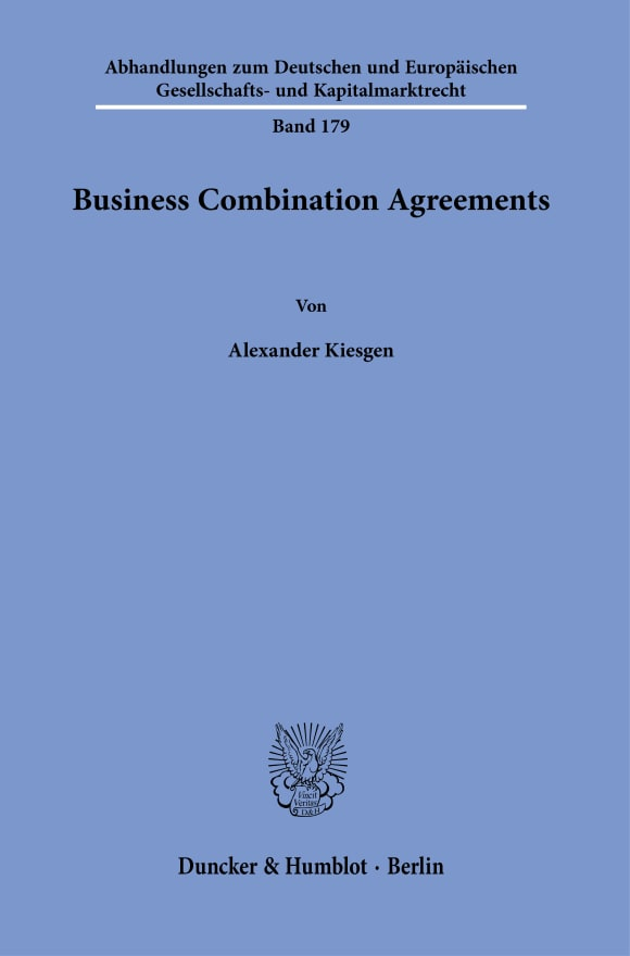 Cover Business Combination Agreements