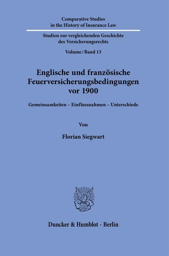 Cover Englische und französische Feuerversicherungsbedingungen vor 1900