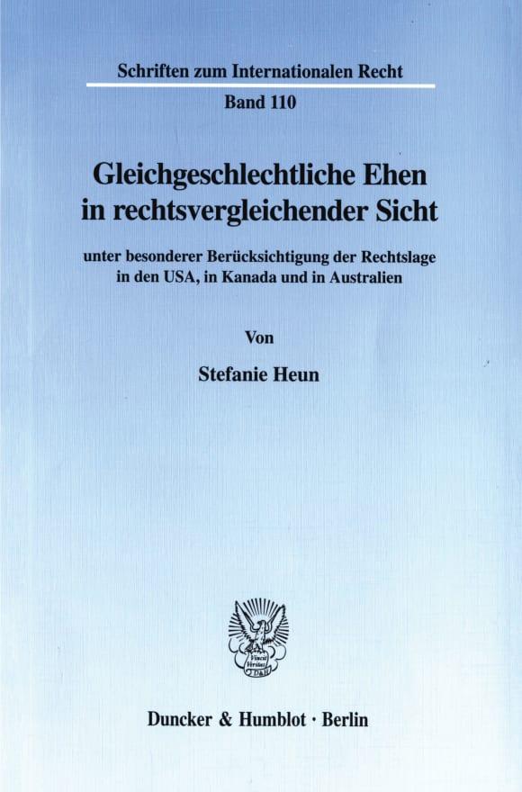 Cover Gleichgeschlechtliche Ehen in rechtsvergleichender Sicht