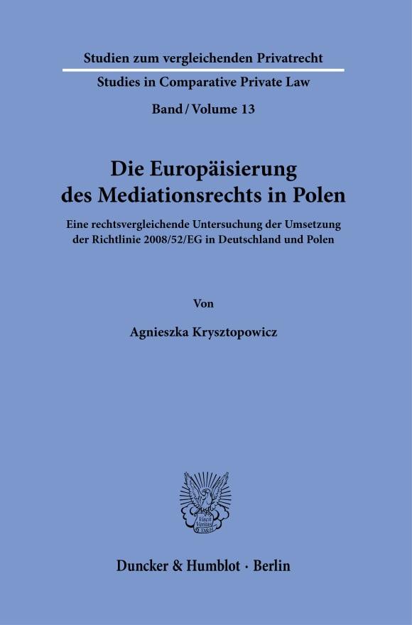 Cover Die Europäisierung des Mediationsrechts in Polen