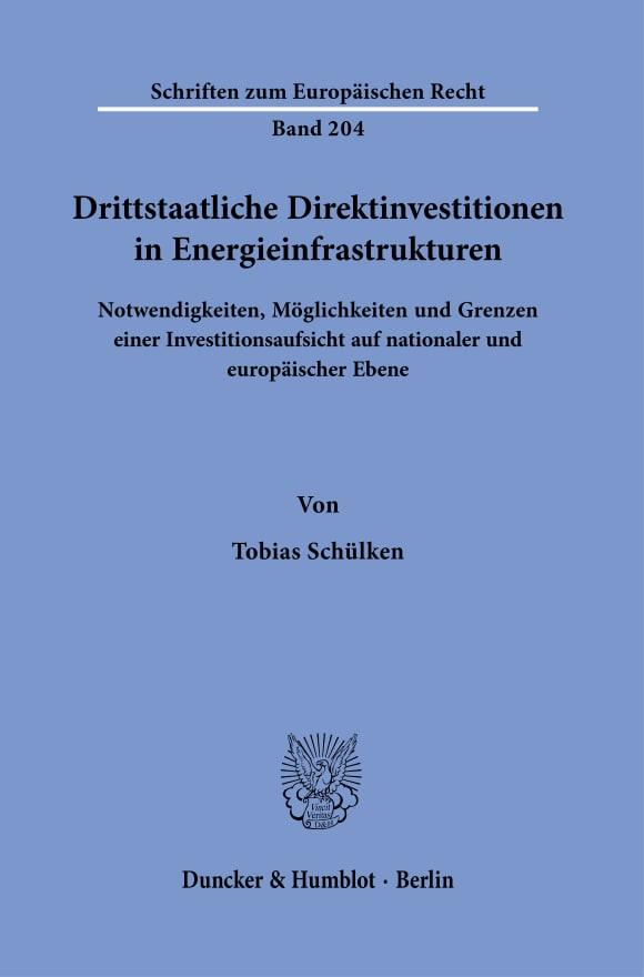 Cover Drittstaatliche Direktinvestitionen in Energieinfrastrukturen