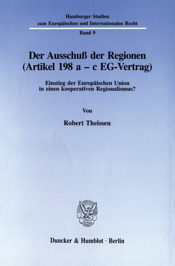 Cover Der Ausschuß der Regionen (Artikel 198 a - c EG-Vertrag)