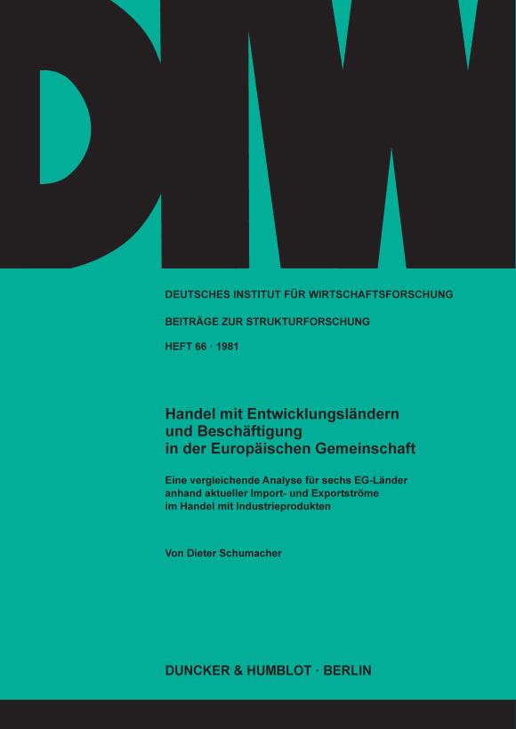 Cover Handel mit Entwicklungsländern und Beschäftigung in der Europäischen Gemeinschaft