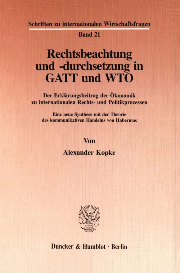 Cover Rechtsbeachtung und -durchsetzung in GATT und WTO