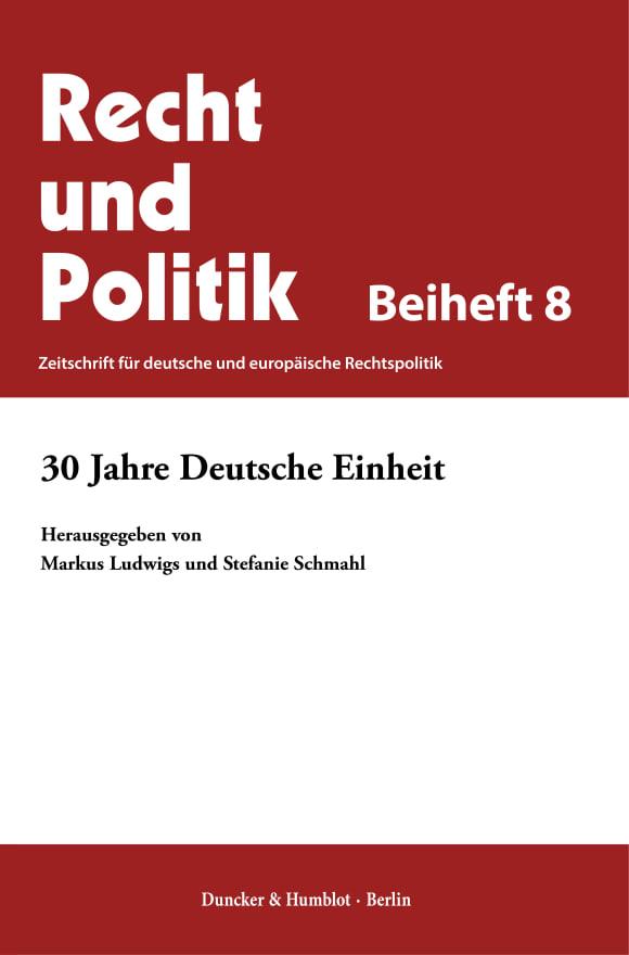 Cover 30 Jahre Deutsche Einheit