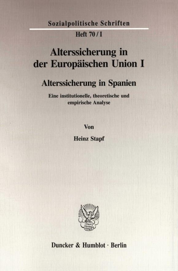 Cover Alterssicherung in der Europäischen Union I