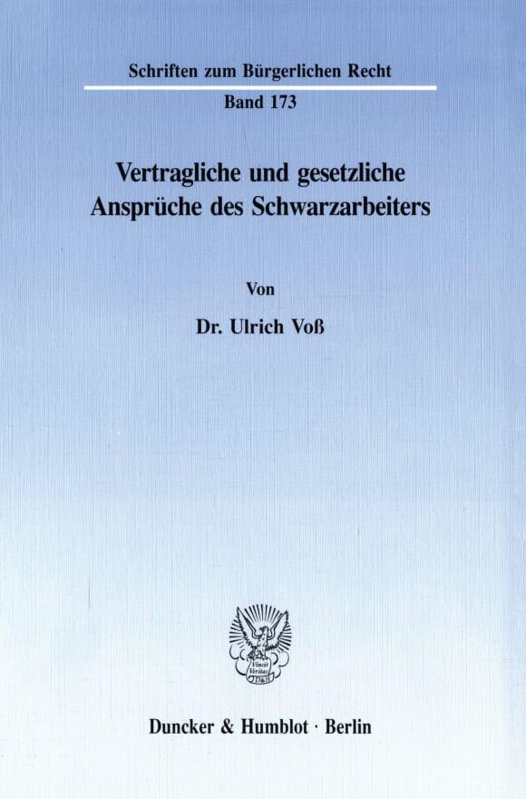 Cover Vertragliche und gesetzliche Ansprüche des Schwarzarbeiters