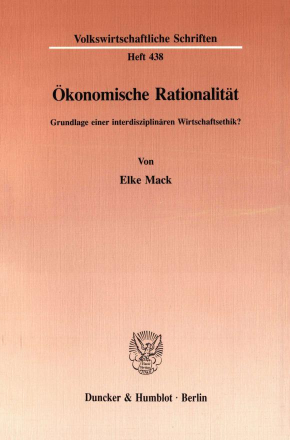 Cover Ökonomische Rationalität
