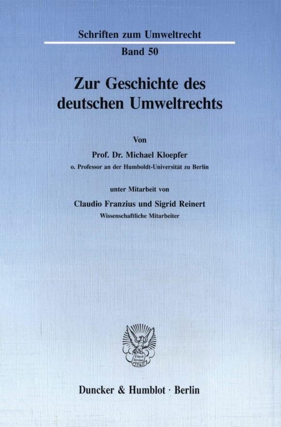 Cover Zur Geschichte des deutschen Umweltrechts
