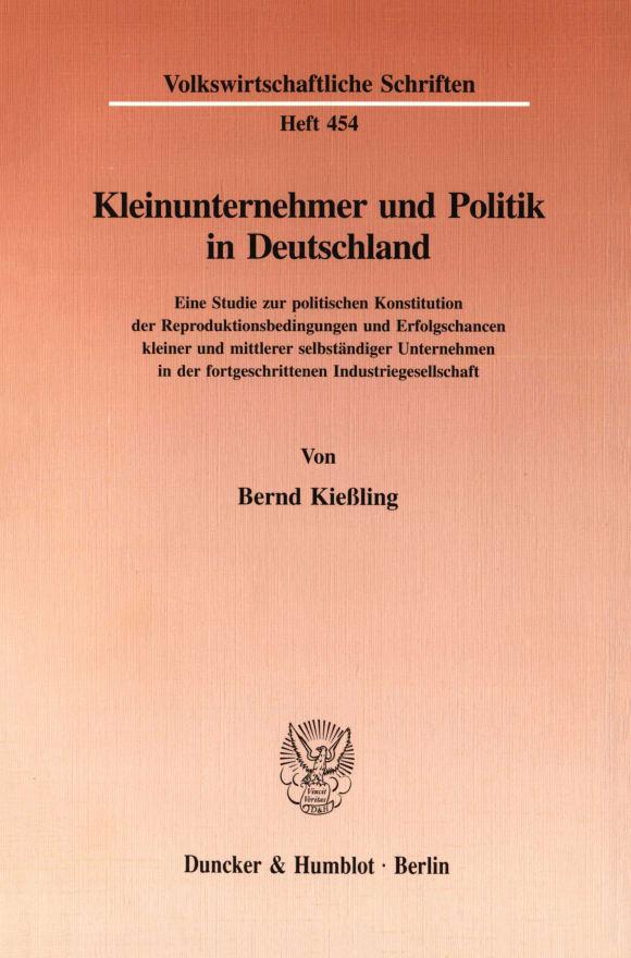 Cover Kleinunternehmer und Politik in Deutschland