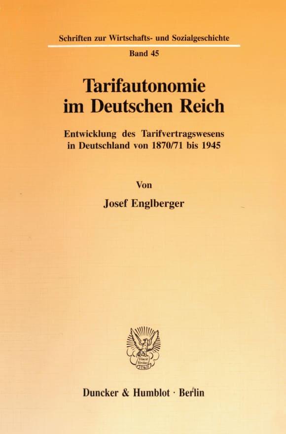 Cover Tarifautonomie im Deutschen Reich