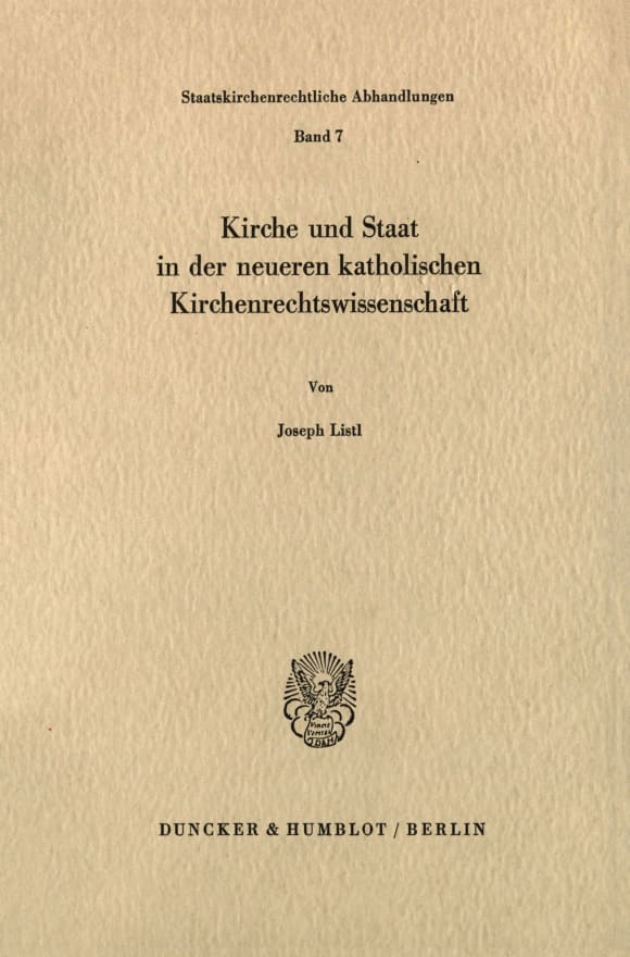 Cover Kirche und Staat in der neueren katholischen Kirchenrechtswissenschaft