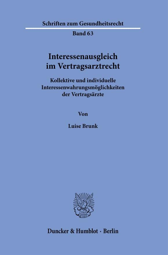 Cover Interessenausgleich im Vertragsarztrecht