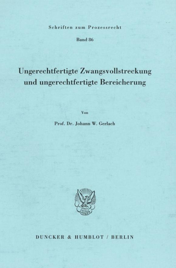 Cover Ungerechtfertigte Zwangsvollstreckung und ungerechtfertigte Bereicherung