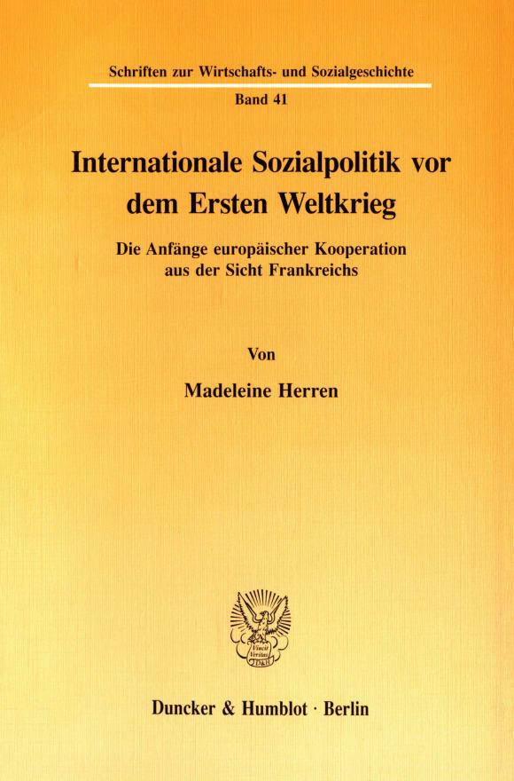 Cover Internationale Sozialpolitik vor dem Ersten Weltkrieg