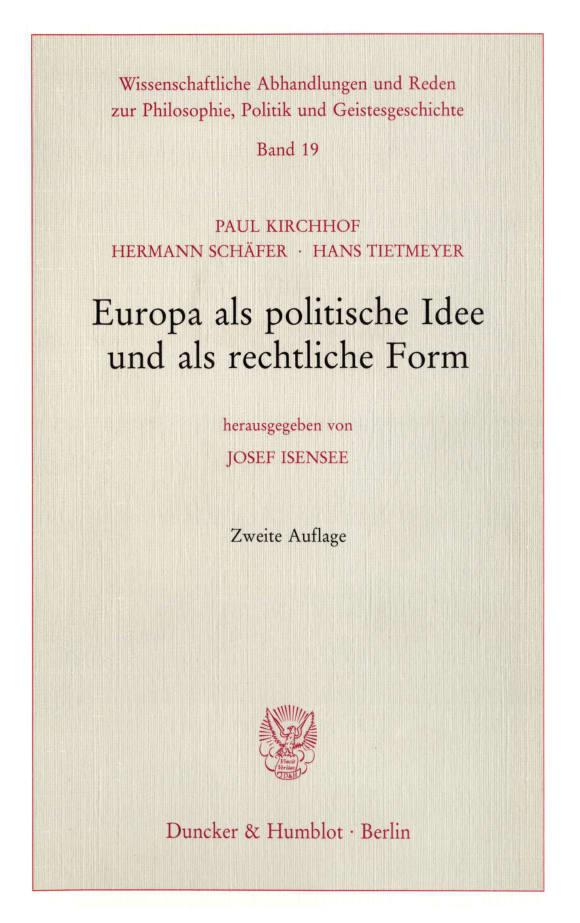 Cover Europa als politische Idee und als rechtliche Form