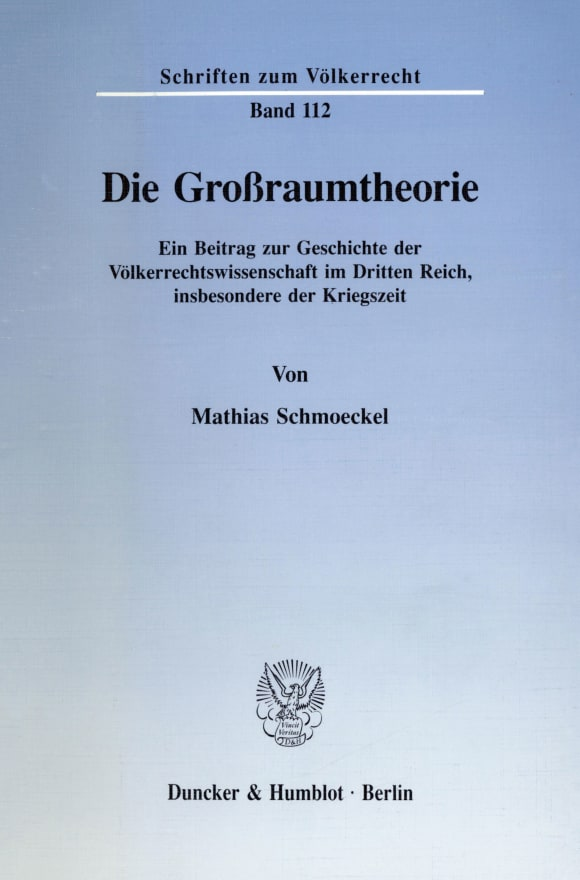 Cover Die Großraumtheorie
