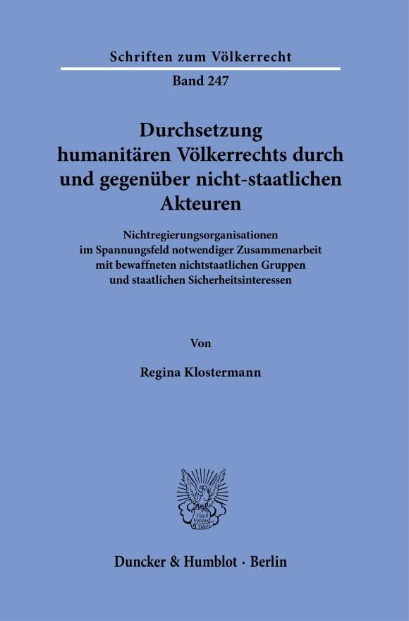 Cover Durchsetzung humanitären Völkerrechts durch und gegenüber nicht-staatlichen Akteuren