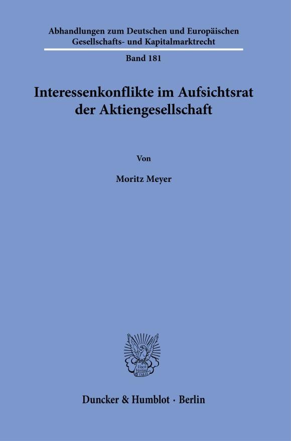Cover Interessenkonflikte im Aufsichtsrat der Aktiengesellschaft