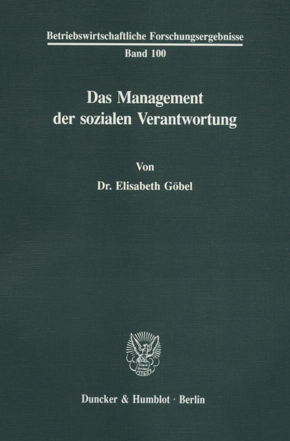 Cover Das Management der sozialen Verantwortung