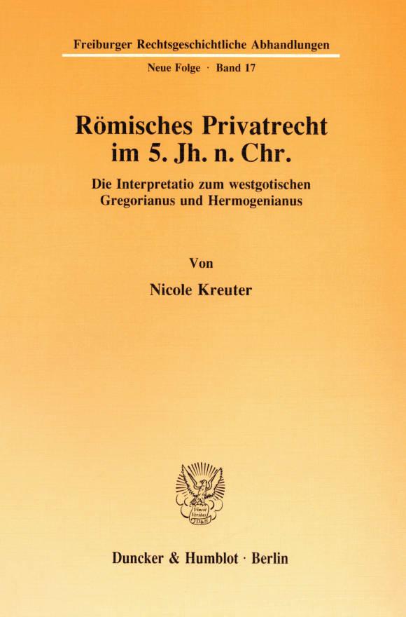 Cover Römisches Privatrecht im 5. Jh. n. Chr