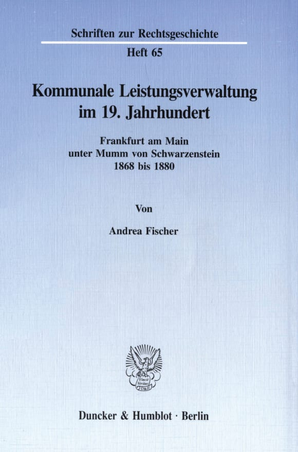 Cover Kommunale Leistungsverwaltung im 19. Jahrhundert