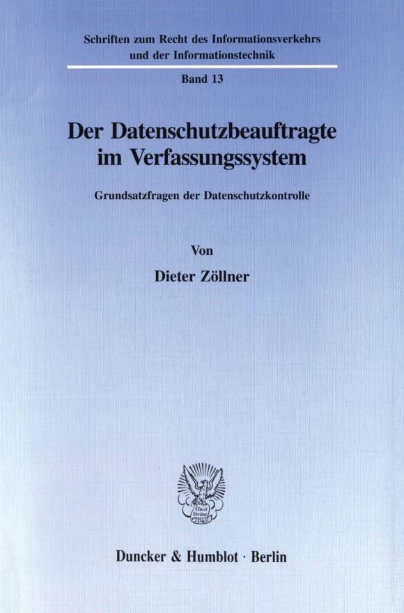 Cover Der Datenschutzbeauftragte im Verfassungssystem