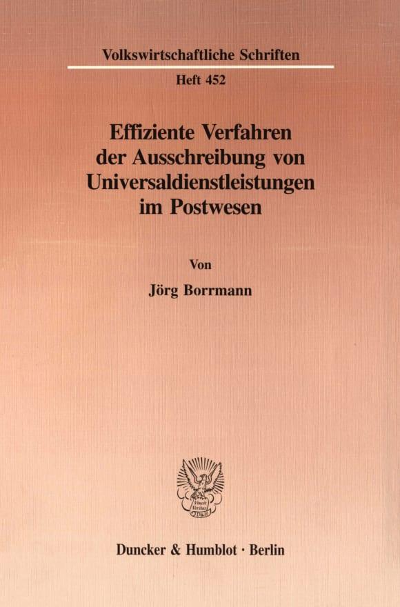 Cover Effiziente Verfahren der Ausschreibung von Universaldienstleistungen im Postwesen