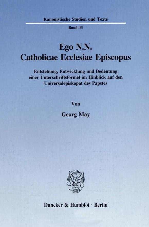 Cover Ego N.N. Catholicae Ecclesiae Episcopus