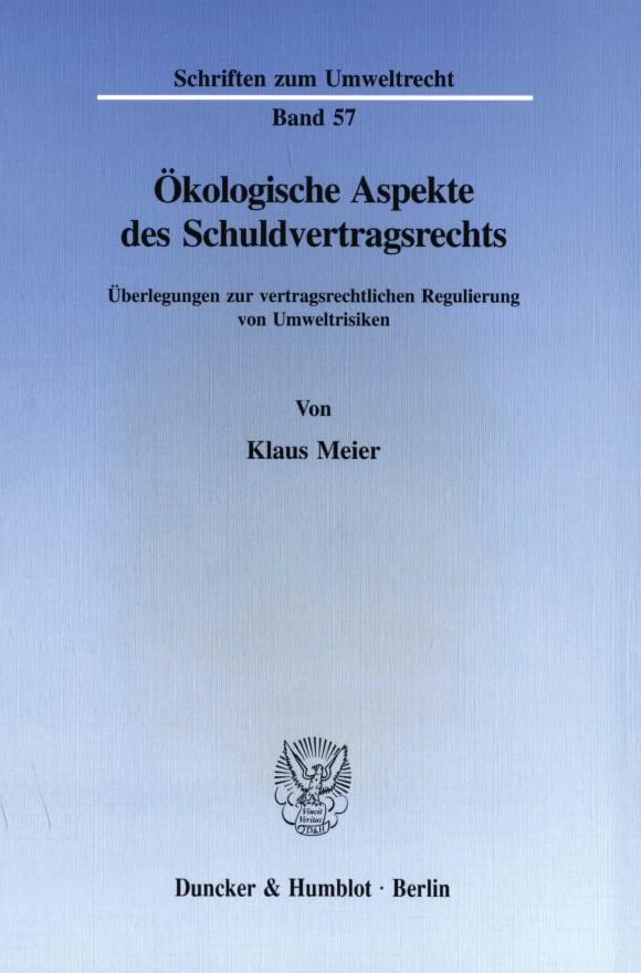 Cover Ökologische Aspekte des Schuldvertragsrechts