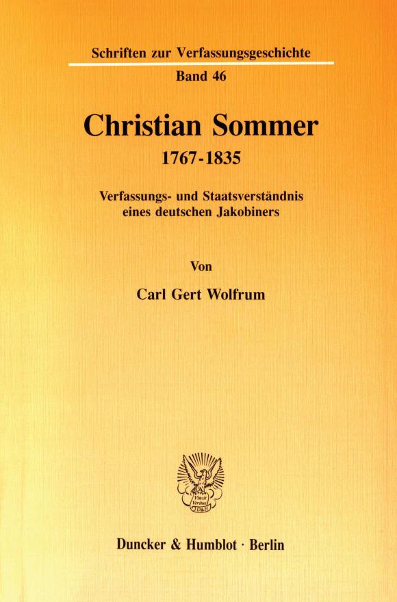 Cover Christian Sommer 1767–1835