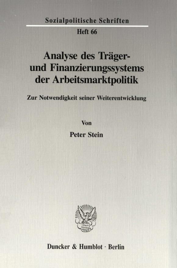 Cover Analyse des Träger- und Finanzierungssystems der Arbeitsmarktpolitik