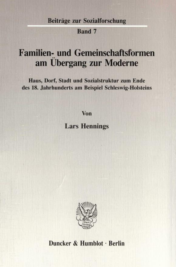Cover Familien- und Gemeinschaftsformen am Übergang zur Moderne