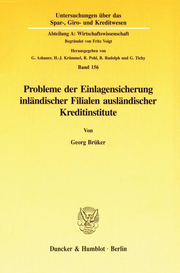 Cover Probleme der Einlagensicherung inländischer Filialen ausländischer Kreditinstitute