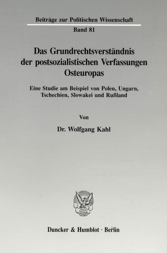 Cover Das Grundrechtsverständnis der postsozialistischen Verfassungen Osteuropas