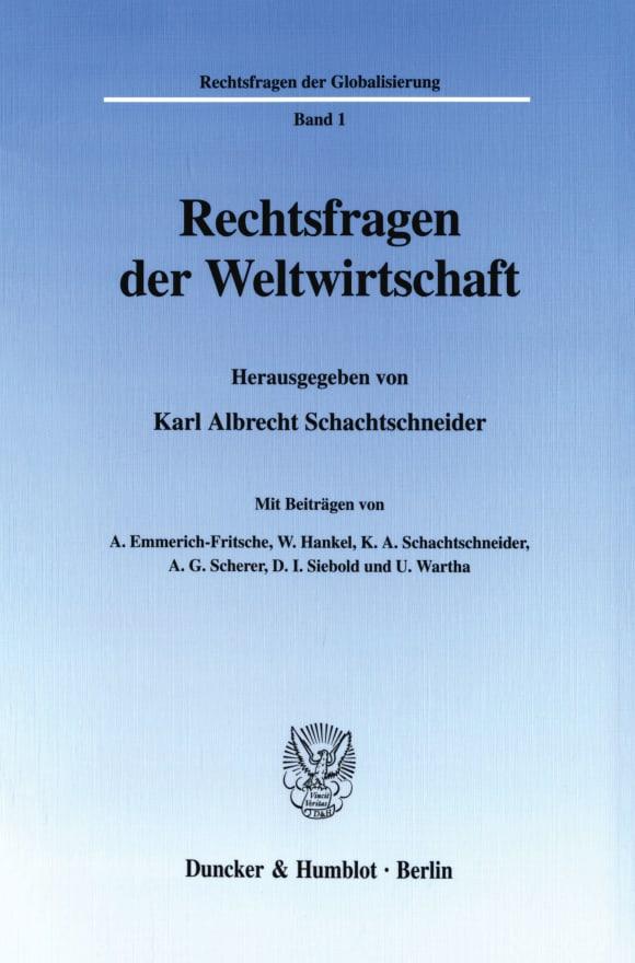 Cover Rechtsfragen der Weltwirtschaft