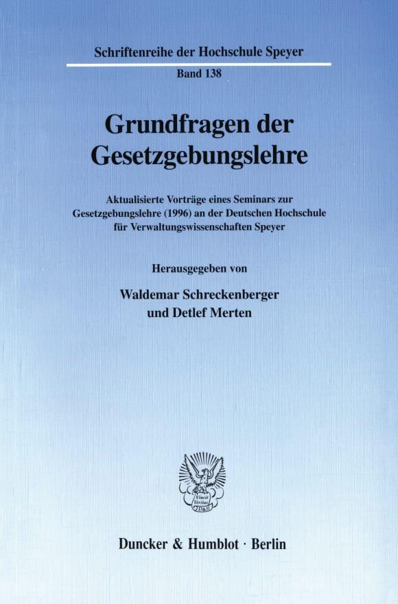 Cover Grundfragen der Gesetzgebungslehre