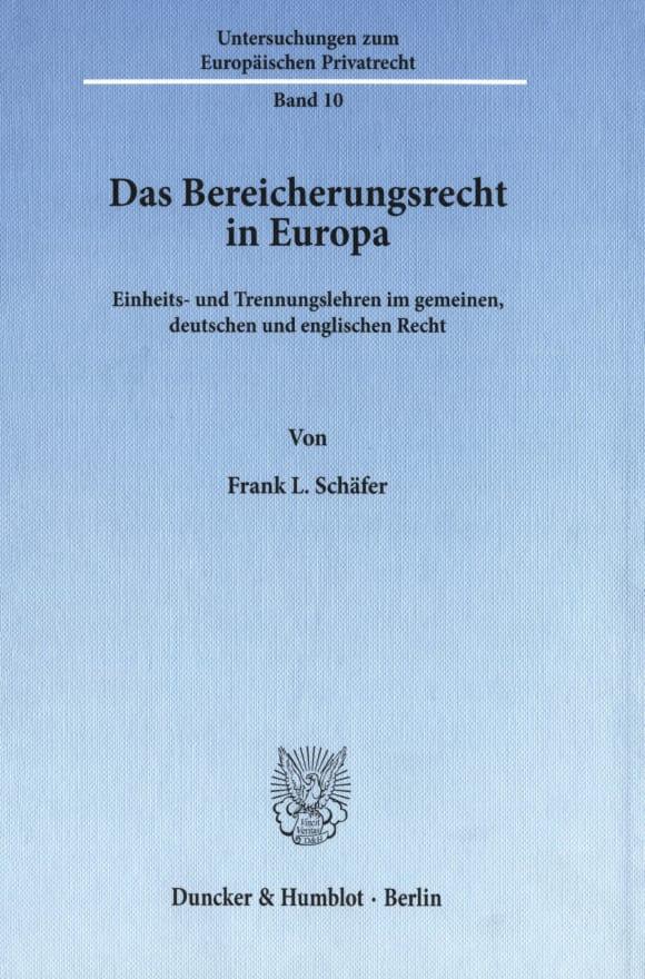Cover Das Bereicherungsrecht in Europa