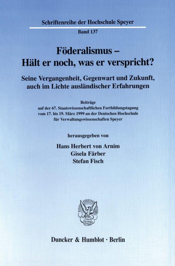 Cover Föderalismus - Hält er noch, was er verspricht?