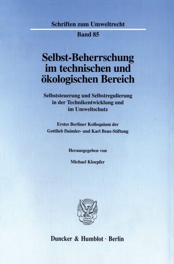 Cover Selbst-Beherrschung im technischen und ökologischen Bereich