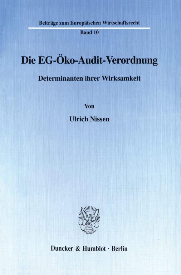 Cover Die EG-Öko-Audit-Verordnung
