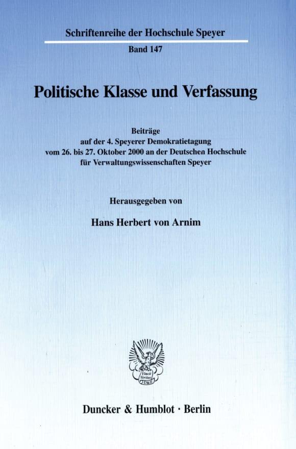 Cover Politische Klasse und Verfassung