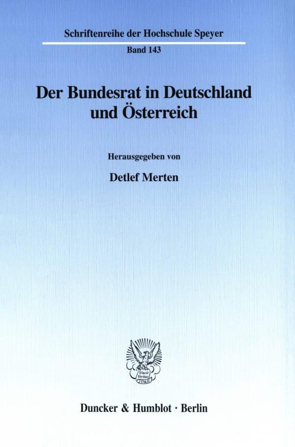 Cover Der Bundesrat in Deutschland und Österreich