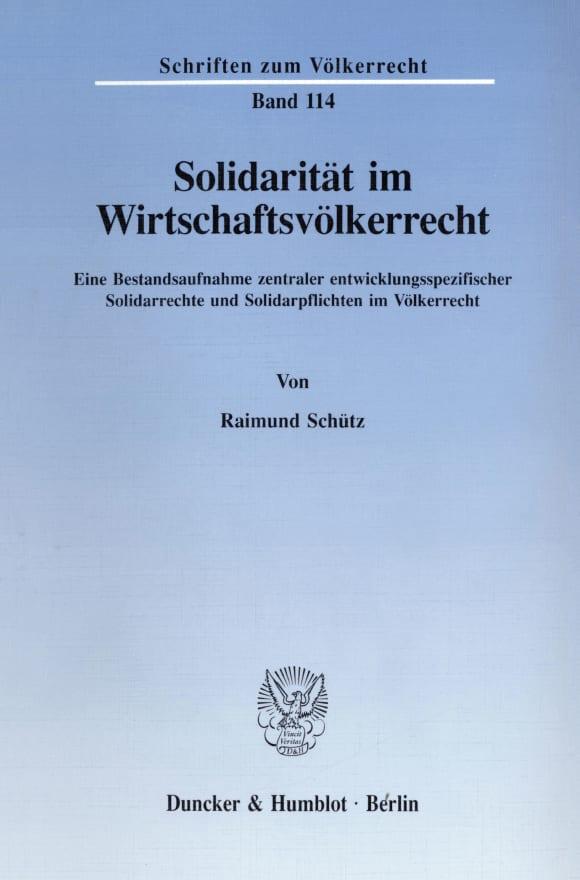 Cover Solidarität im Wirtschaftsvölkerrecht
