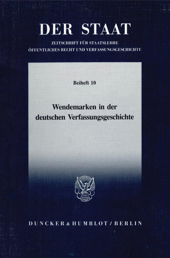 Cover Wendemarken in der deutschen Verfassungsgeschichte