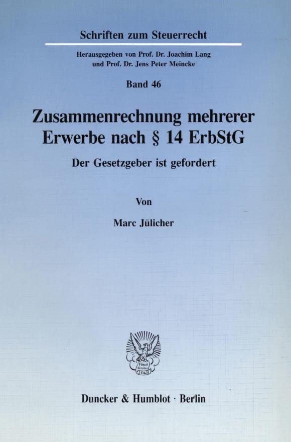 Cover Zusammenrechnung mehrerer Erwerbe nach § 14 ErbStG
