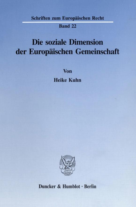 Cover Die soziale Dimension der Europäischen Gemeinschaft