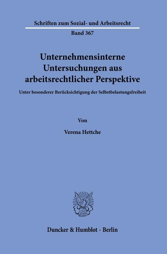 Cover Unternehmensinterne Untersuchungen aus arbeitsrechtlicher Perspektive