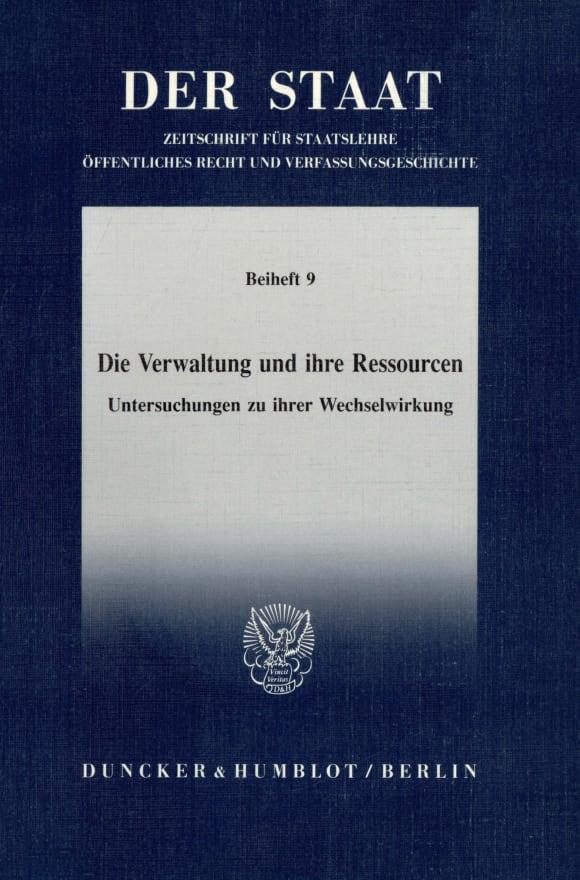 Cover Die Verwaltung und ihre Ressourcen