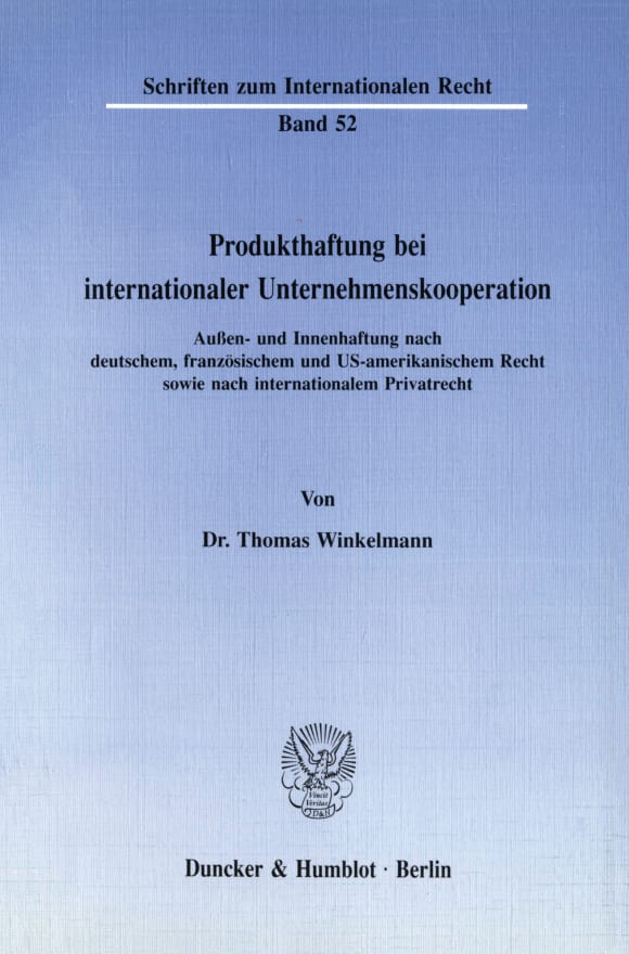 Cover Produkthaftung bei internationaler Unternehmenskooperation